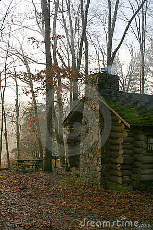 Cabin in Early Morning Mist – New Jersey