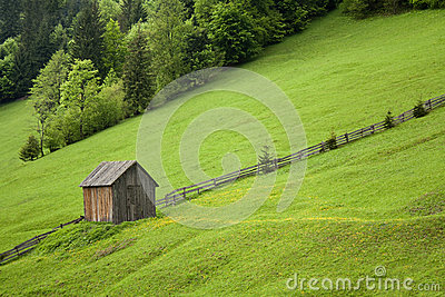 Cabin on a hill with grass