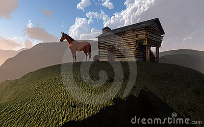 Cabin and horse on hill