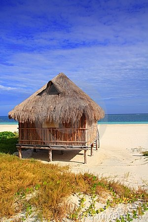 Cabin palapa hut Caribbean sea beach Mexico