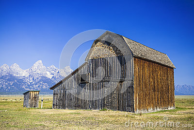 Cabin under tetons mountain