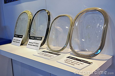 Cabin window assembly of various aircraft Editorial Stock Image