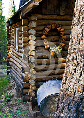 Cabin in the woods with decorations