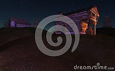 Cabina de la noche en la colina