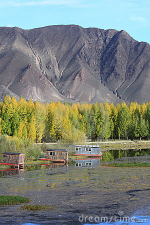 Cabins near Kyi river