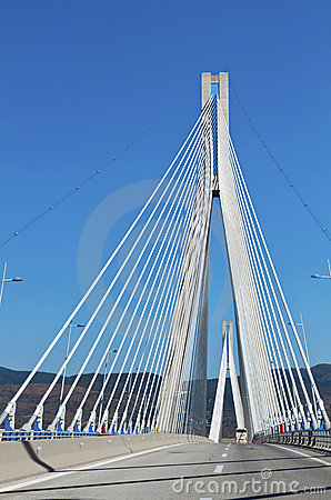 Cable bridge at Patra city in Greece