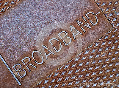 Cable broadband as text on metal, television,