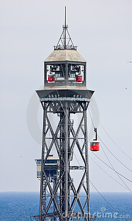 Cable car above harbor of barcelona, spain