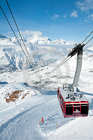 Cable car from Gant to Hohtaelli, Zermatt, Switzerland Editorial Stock Photo