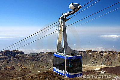 Cable-car going up to peak of Teide