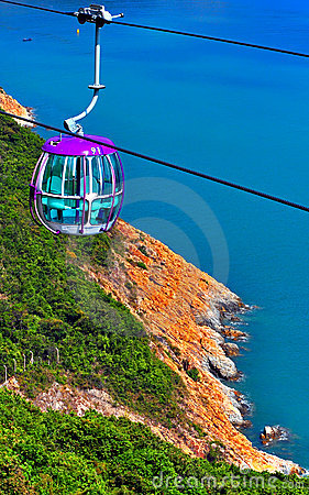 Cable car over hillside