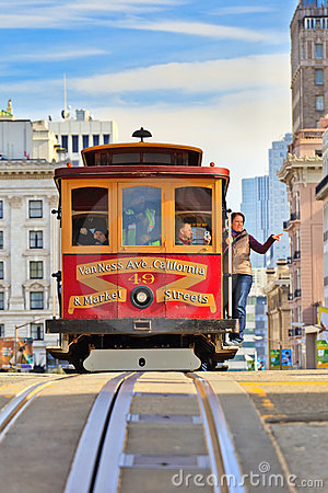 Cable car in San Francisco Editorial Image