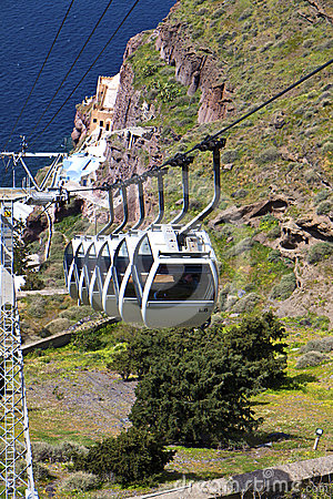 Cable car at Santorini island in Greece