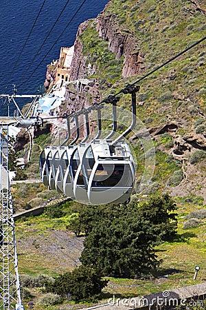 Cable car at Santorini island in Greece