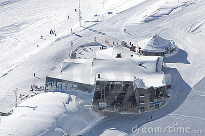 Cable-car station in alps