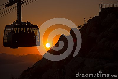 Cable car at sunset