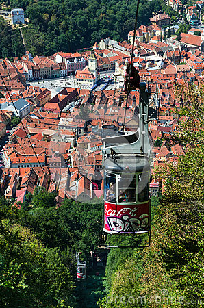 Cable Car of Tampa mountain, Brasov in Romania Editorial Photo