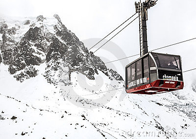 Cable Car to the Aguille du Midi peak, Mont Blanc