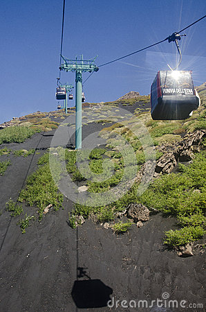 Cable-car to Etna Editorial Stock Image