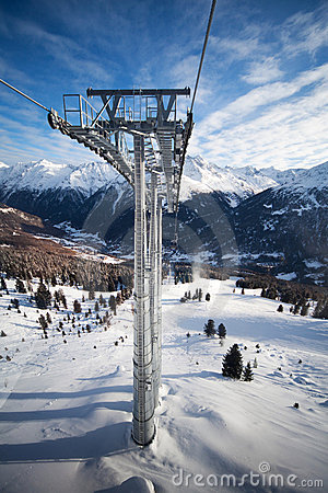 Cable-car tower in alps