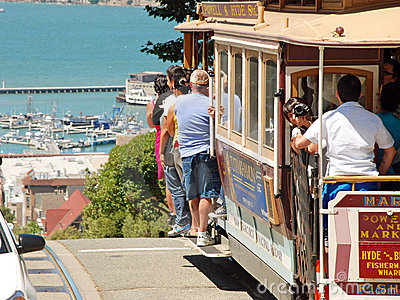 Cable car tram railway in San Francisco, USA Editorial Stock Photo