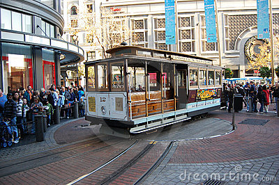 Cable Car on turntable, San Francisco Editorial Stock Photo