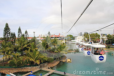Cable pulley in Sea World theme park Editorial Stock Photo