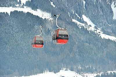 Cable cars in Eastern Alps in Kitzbuhel Editorial Stock Image