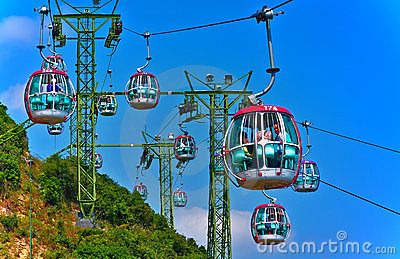 Cable cars of ocean park hong kong Editorial Photo
