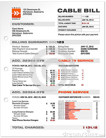 Free Cable Service Phone Bill Document Sample Template Stock Photos - 30165913