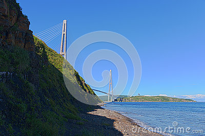 Cable stayed bridge Russky Bridge. Editorial Stock Image