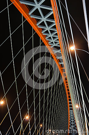 Free Cable-stayed Through Arch Bridge (Bugrinsky Bridge) Over River Ob At Night, In Novosibirsk, Siberia, Russia Royalty Free Stock Image - 52665316
