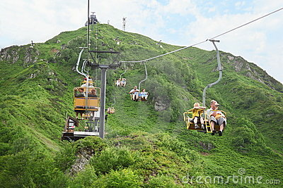 Cable way is serving ski-run with vertical drop Editorial Image