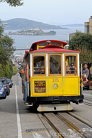 Cablecar with Alcatzar - San Francisco Editorial Stock Photo