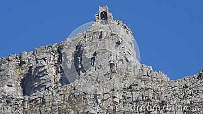 Cabo aéreo da montanha da tabela, Cape Town (Cape Town, África sul 15 de agosto de 2016) vídeos de arquivo