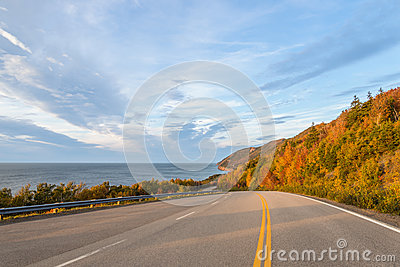 Cabot Trail Highway (Cape Breton, Nova Scotia, Canada) Stock Photo