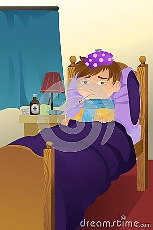 Cabrito enfermo en cama