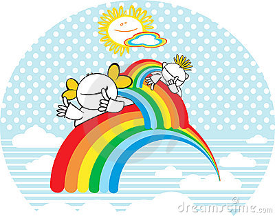 Cabritos felices con el arco iris.