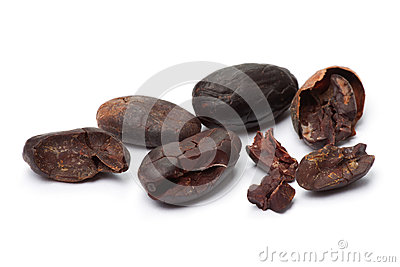 Cacao beans  on white