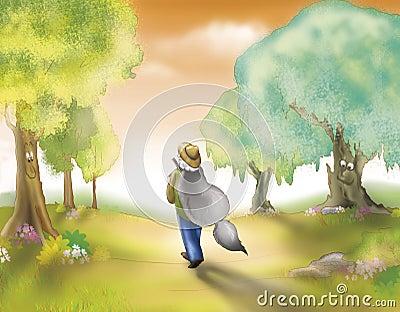 Cacciatore con la pelliccia del lupo