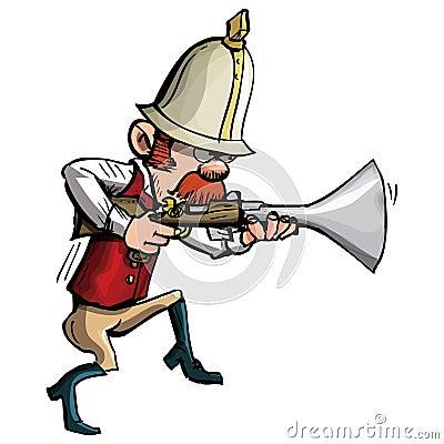 Cacciatore del fumetto con un inseguimento del trombone