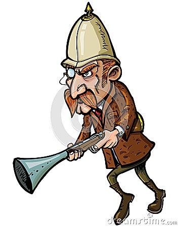 Cacciatore del fumetto con un trombone