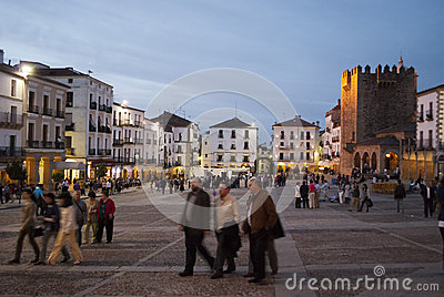 Caceres Nightlife Editorial Stock Image