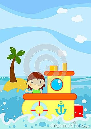 Cachetage mignon de petite fille sur un bateau