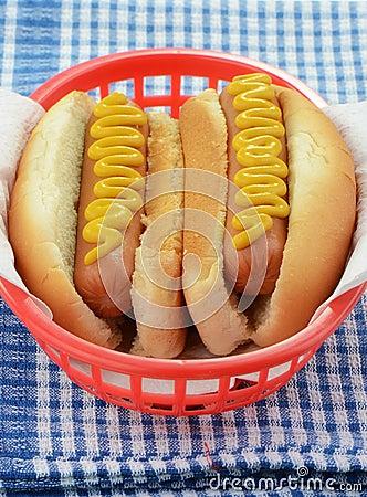 Cachorros quentes com mostarda