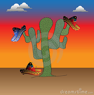 Cactus and colorful sombreros