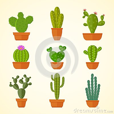 Free Cactus Decorative Home Plant In Pots Flat Vector Icons Stock Photo - 109365590