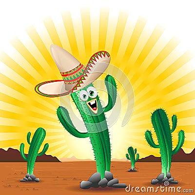 Cactus Happy Cartoon Mexico