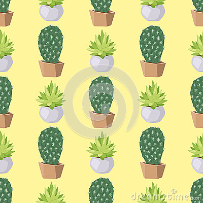 Free Cactus Nature Desert Flower Green Mexican Succulent Tropical Plant Seamless Pattern Cacti Floral Vector Illustration. Stock Photos - 95221483