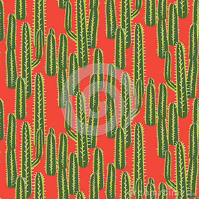 Free Cactus Plant Vector Seamless Pattern. Abstract Desert Nature Fabric Print. Stock Images - 95588834